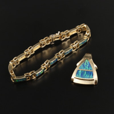 14K Yellow Gold Opal Inlay Bracelet and Pendant Set