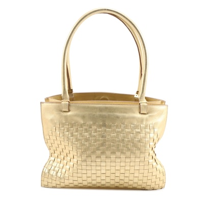 Bottega Veneta Metallic Gold Intrecciato Leather Tote Bag