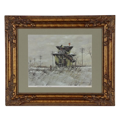 "Robert Fabe Offset Lithograph ""Station in Winter"""
