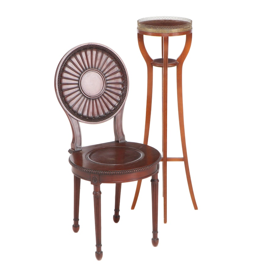 Churchill of London Carved Chair with Italian Plant Stand