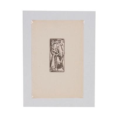 "Max Weber Woodcut ""Two Figures"", 1956"