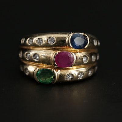 Vintage 14K Yellow Gold Emerald, Ruby, Sapphire and Diamond Ring