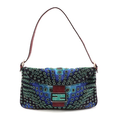 Fendi Lizard Trimmed Woven Baguette Bag with Amazonite Inlay and Glass Beading