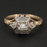 Vintage 14K Yellow Gold Ring with 18K White Gold Accents
