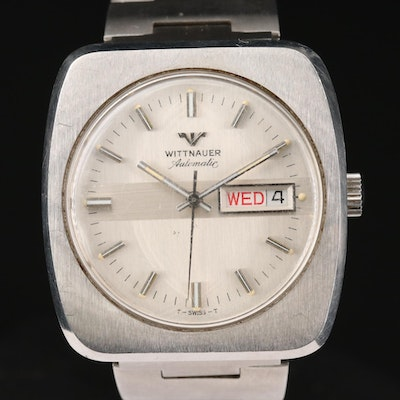 Vintage Wittnauer Day-Date Stainless Steel Automatic Wristwatch