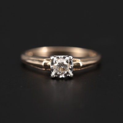 Vintage 14K Yellow Gold 0.16 CT Diamond Solitaire Ring with White Gold Accent
