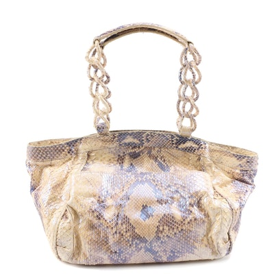 Nancy Gonzalez Cream and Iridescent Blue Python Skin Handbag