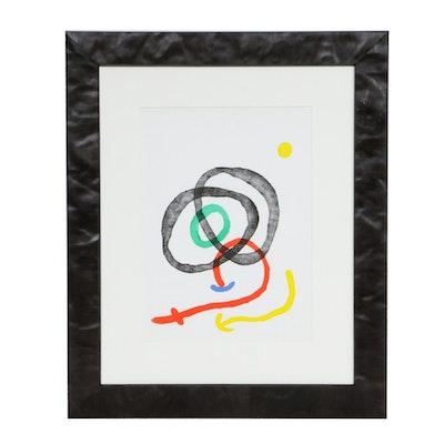 """Joan Miró Color Lithograph for """"Derrière le Miroir,"""" 1967"""