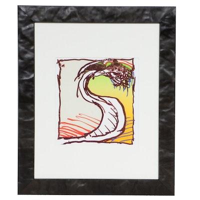 """Pierre Alechinsky Color Lithograph for """"Derrière le Miroir,"""" 1981"""