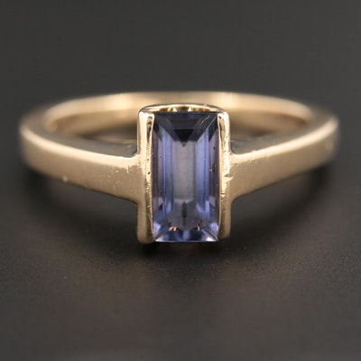 14K Yellow Gold Iolite Solitaire Ring