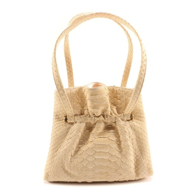 Judith Leiber Beige Python Skin Handbag with Tiger's Eye Cabochon Accents