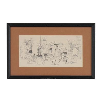 """Susan Sturgill Lithograph """"Cincinnati Dancing Pigs"""""""
