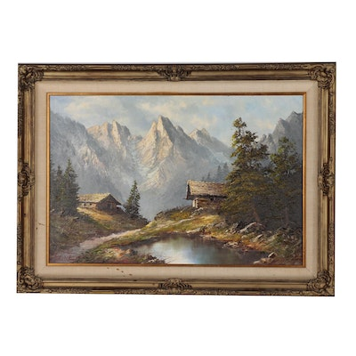 Oil Painting of Mountain Scene with Chalet