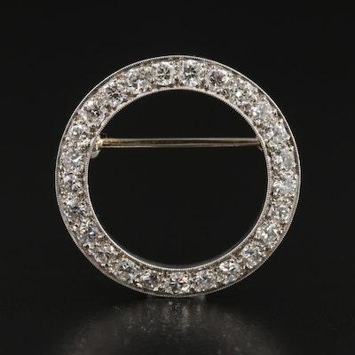 Vintage Platinum 1.50 CTW Diamond Circle Brooch with Milgrain Trim