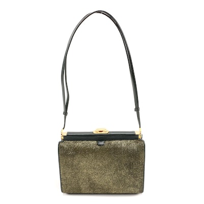 Judith Leiber Metallic Gold Calf Hair and Dark Green Leather Shoulder Bag