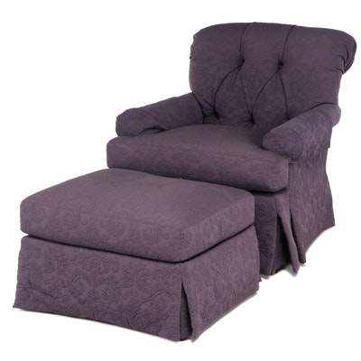 Lexington Purple Matelasse Chair and Ottoman, Late 20th Century