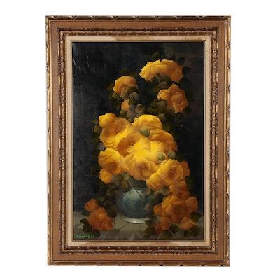 Luiz Carlos Coelho Floral Still Life Oil Painting