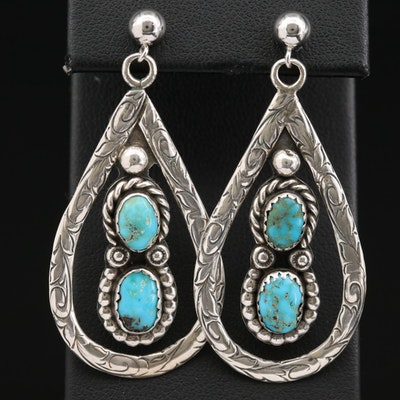 Jerry Cowboy Navajo Diné Sterling Silver Turquoise Drop Earrings