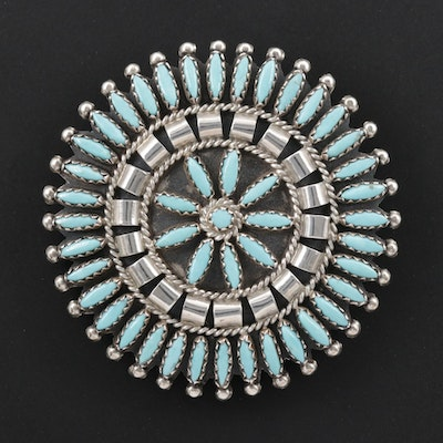 Nathaniel and Rosemary Nez Navajo Diné Sterling Needlepoint Converter Brooch