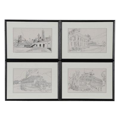 """Halftone Prints After Warren Stichtenoth of Cincinnati Steamboat """"Delta Queen"""""""