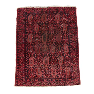 3'7 x 4'10 Hand-Knotted Persian Hamadan Wool Area Rug