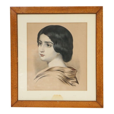 """Hand-Colored Lithograph """"Evangeline"""", 19th Century"""