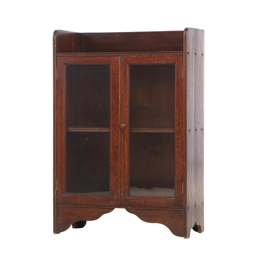 Small Oak Glazed-Door Bookcase, Early 20th Century