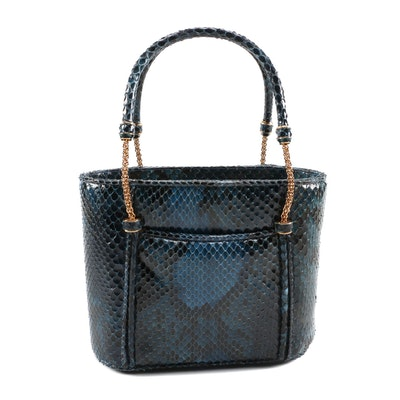 Judith Leiber Blue Python Skin Top Handle Bag with Chain and Python Handles