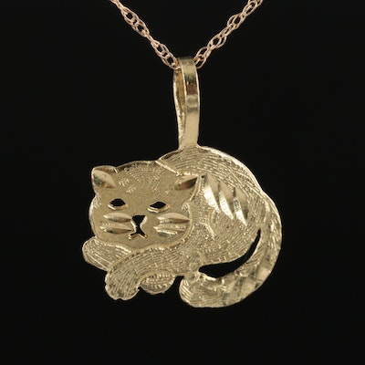 14K Yellow Gold Cat Pendant Necklace