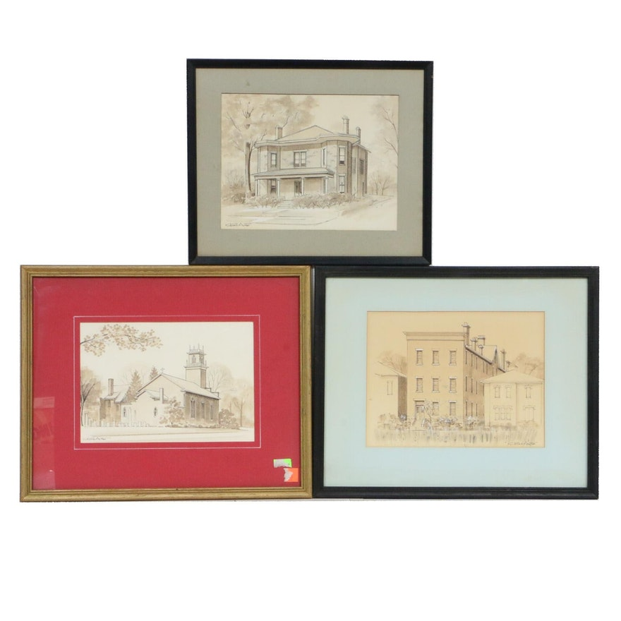 Bill Arter Architectural Ink Wash Drawings