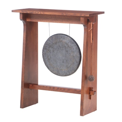 Stickley, Arts and Crafts Style Oak and Hand-Hammered Bronze Dinner Gong