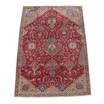 6'2 x 8'11 Hand-Knotted Persian Najafabad Wool Area Rug