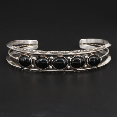 Harry Spencer Navajo Diné Sterling Silver Black Onyx Cuff Style Bracelet