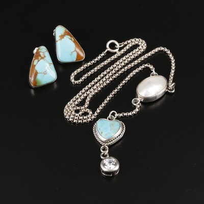 Joan Slifka Sterling Turquoise and Gemstone Necklace With Southwestern Earrings