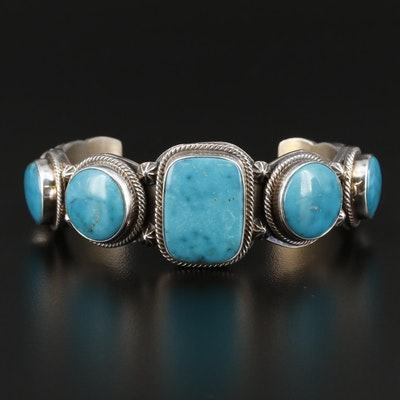 Roie Jaque Navajo Diné Sterling Silver Turquoise Cuff Bracelet