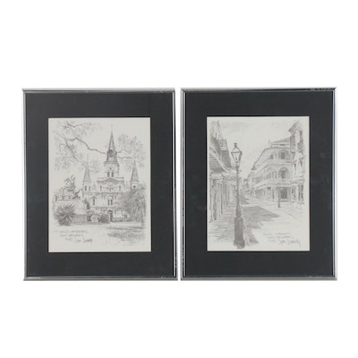 """Halftone Prints after Don Davey """"Royal Street"""" and """"St. Louis Cathedral"""""""