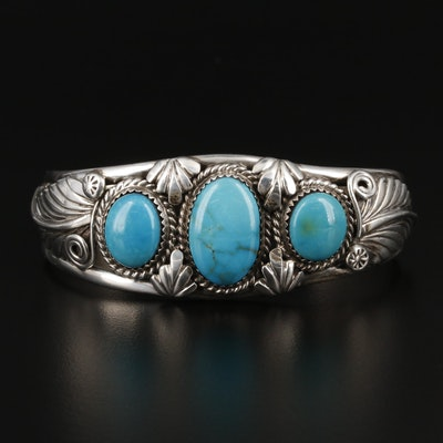 De Chelly Galleries Navajo Diné Sterling Silver Turquoise Cuff Bracelet