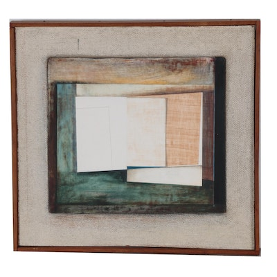 """Donald Roberts Abstract Gouache Painting """"Penobscot Project"""", 1964"""
