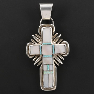 Southwestern Style Sterling Mother of Pearl and Opal Cross Pendant