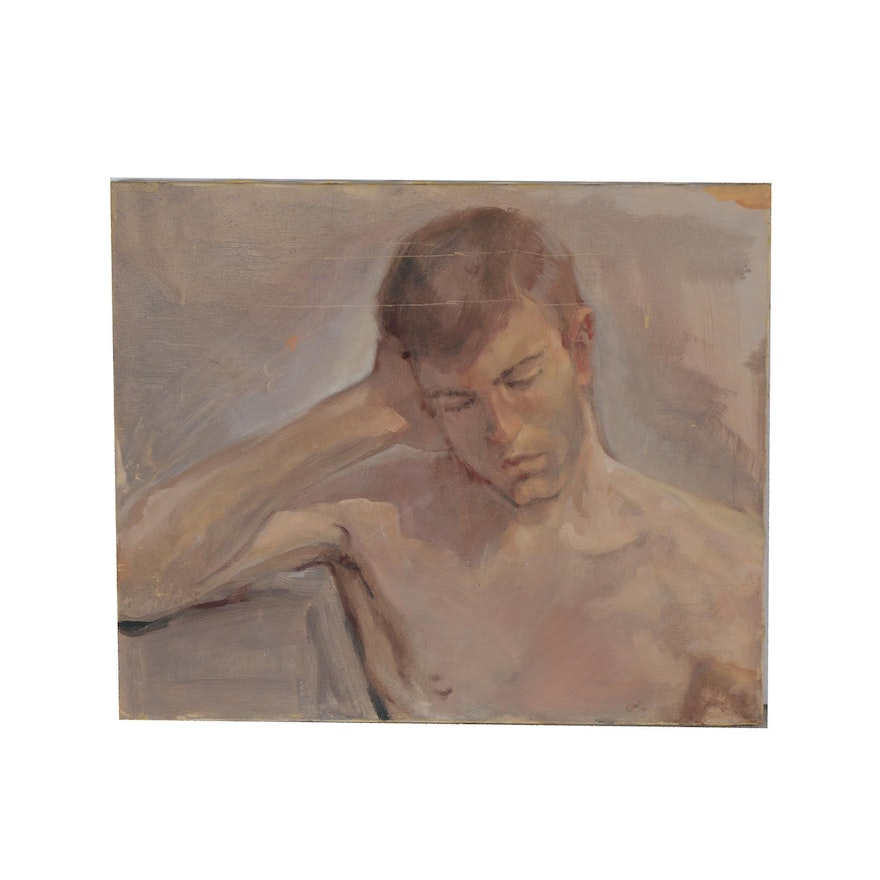 Figure Oil Painting, Mid to Late 20th Century