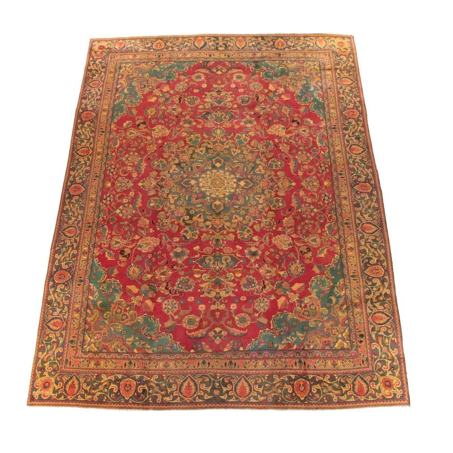 8'10 x 11'11 Hand-Knotted Persian Mashhad Wool Area Rug