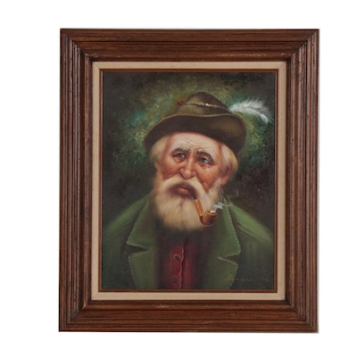 Oil Portrait Painting of German Man with Pipe