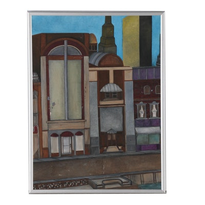 Architectural Oil Painting, Late 20th Century