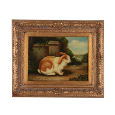Realist Oil Painting of Bunny Rabbit in Landscape