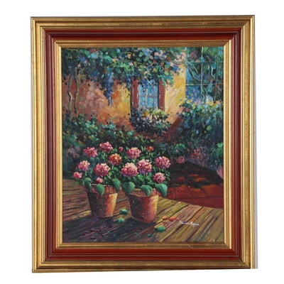 Marion Boyer Oil Painting of Potted Flowering Pants on Patio