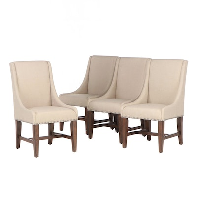 Contemporary Sloped Arm Upholstered Side Chairs with Nail Tack Detailing
