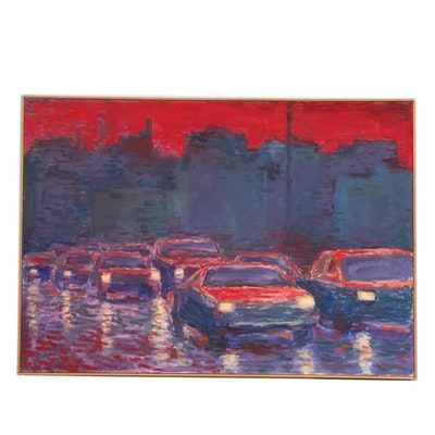 "Farnoosh Lanjani Oil Painting ""Cars II,"" 1990"