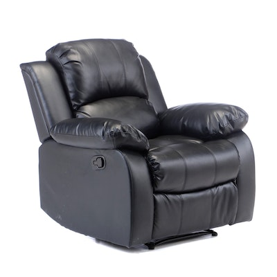 Contemporary Faux Leather Pillow Back Reclining Chair
