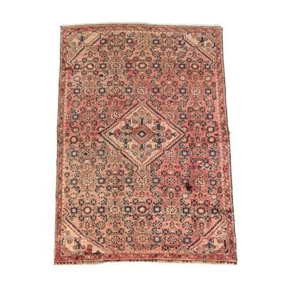 3'11 x 5'9 Hand-Knotted Persian Hamadan Wool Area Rug