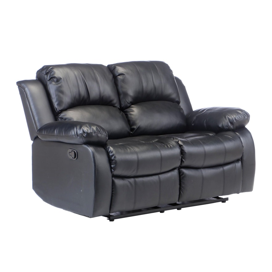 Contemporary Faux Leather Pillow Back Reclining Loveseat